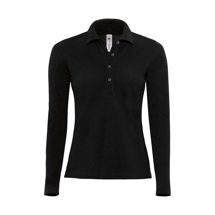 Damen Polo Shirt 180 g/m2 LADIES' POLO LS - Black/Black Opal - Poloshirts