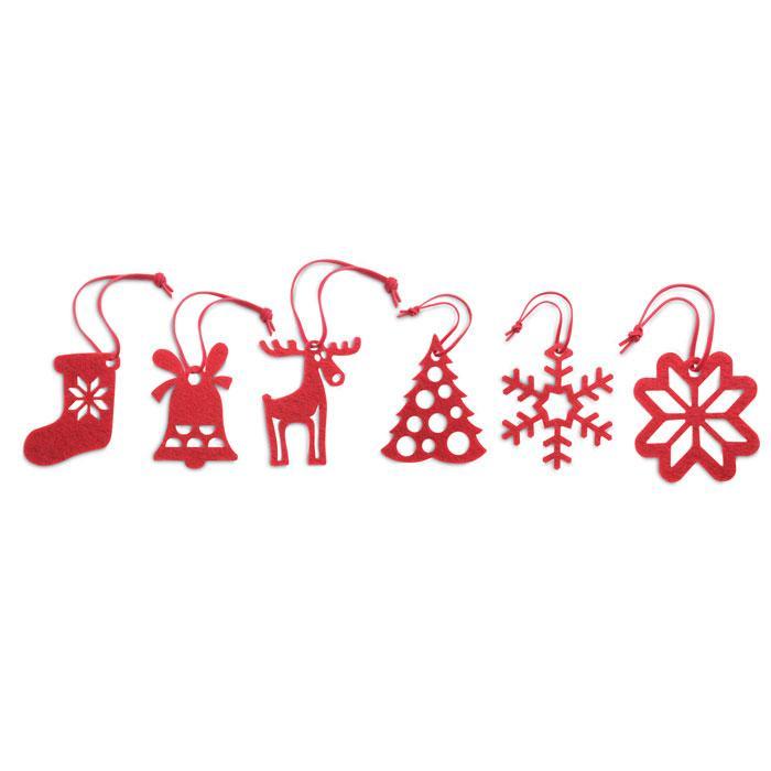 6-teiliges Filz-Anhänger Set ROUGE - Weihnachtsdekoration