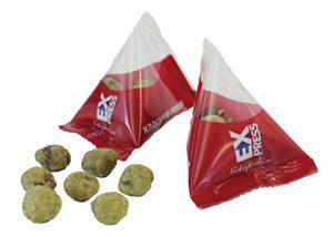 Wasabi-Nüsse als Werbeartikel im Tetraeder