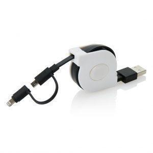 MFi lizensiertes aufrollbares 2-in-1 Kabel