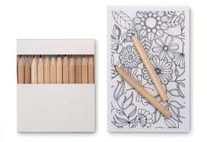 Buntstifte mit kleinem Malbuch als Werbemittel mit Firmenlogo
