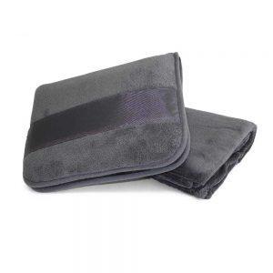 Decken- und Kissenset Microfleece - grau