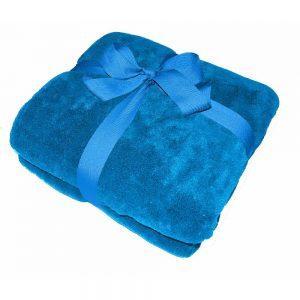 Werbeartikel Decke mit Logo bedrucken und besticken – Duodecke Coral-Fleece Sherpa - blau