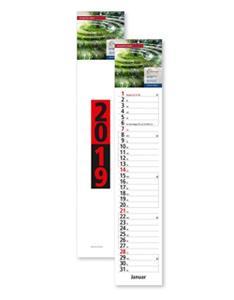 Streifenkalender mit Druck: Cover und Kopf des Streifenkalenders mit Logo und Motiv bedrucken lassen