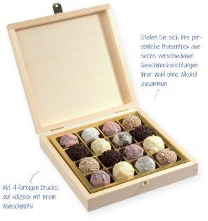 16 Trüffelpralinen in quadratischer Holzbox – süsse – werbemittel aus Schokolade in einer Holzkiste mit Metallverschluss. Stellen sie sich Ihre personliche Präsentbox aus 6 verschiedenen Geschmackrichtungen