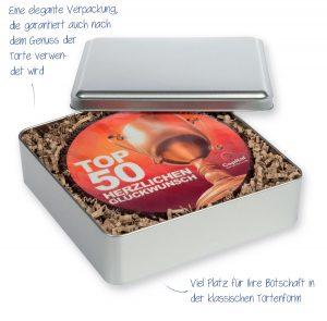 L-Torte rund in Metallbox – großformatige, runde Torte – nach Ihren Wünschen bedrucken wir die Oberfläche der Torte fotorealistisch mit Ihrem Wunschmotiv – verpackt in einer Metallbox.