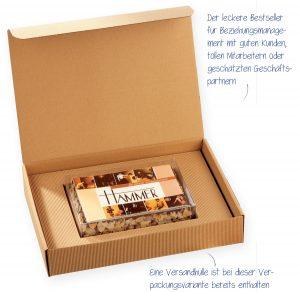 """M-Torte in Klarsicht- und Präsentkarton – beliebt bei Geschäftseröffnung oder als eindrucksvolles, papierloses Mailing mit garantiertem """"Aufmerksamkeitseffekt""""."""