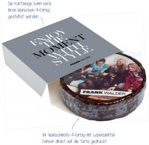 M-Torte rund in Aktionsbox – die Torte wird mit einem lebensmittelechten Zuckeraufleger mit Ihrer Werbebotschaft versehen und nach Ihren Wünschen konfektioniert