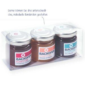 Backofen-Konfitüre 3er-Set – für unsere Backofen-Konfitüren verwenden wir aus- schließlich frische, ausgesuchte Beeren und saftige Früchte sowie feinste Gewürze