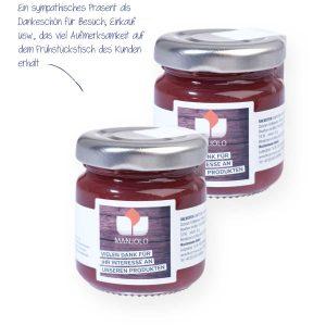 Backofen-Konfitüre Mini-Glas – sonnengereifte Früchte verleihen zusammen mit feinsten Gewürzen und hochwertigem Zucker den Konfitüren ihren unvergleichlich fruchtig-aromatischen Geschmack