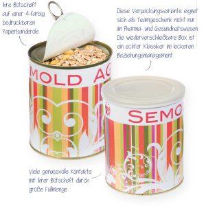Müsli in Aroma-Metalldose – mit Müsli gefüllte Aromadose aus Metall mit Zippverschluss und zusätzlichem Aromadeckel
