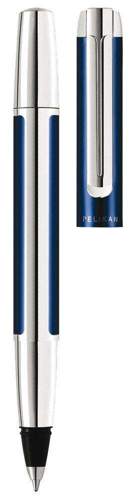 Pelikan Tintenroller Pura R40 blau/silber  als Werbeartikel mit Logo bedrucken im PRESIT Online-Shop