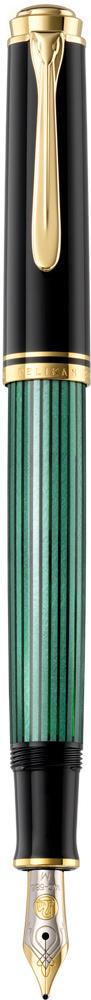 Pelikan Souverän Füllhalter M 400 schwarz/grün  als Werbeartikel mit Logo bedrucken im PRESIT Online-Shop