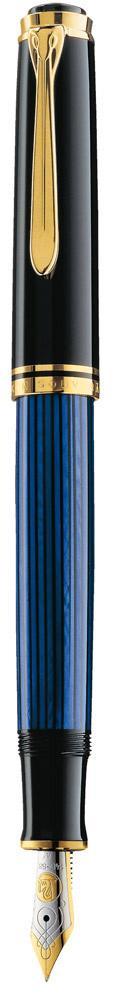 Pelikan Souverän Füllhalter M 600 schwarz/blau  als Werbeartikel mit Logo bedrucken im PRESIT Online-Shop