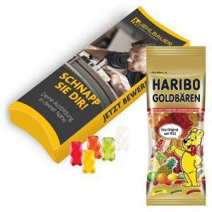 Werbeartikel von Haribo bedrucken lassen und Goldbären in der Verpackung individuell gestalten.