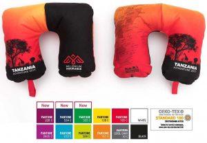 Nackenkissen – mit den 12 Grundfarben des Kissens – perfekt für Ihre Geschäftspartner