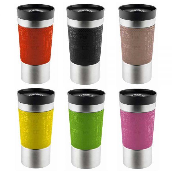 """PRESIT-Mug 360 Becher Farbenauswahl – ganz neu mit praktischem 360° Deckel. D. h. von allen Seiten ohne """"zurechtdrehen"""" sofort mit Ein-Knopf-Entriegelung verwendbar"""