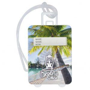 Gepäckanhänger Travel – Aufklappbarer Gepäckanhänger in Form eines Koffers mit vorgedrucktem Einleger