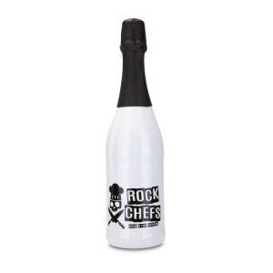 Sekt Cuvée – Flasche weiß-lackiert – Kapsel rot