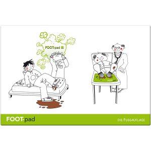 FOOD-pad Fussunterlagen für Ärzteliegen – GROSSE Werbefläche für Pharmawerbung. Made in Germany!