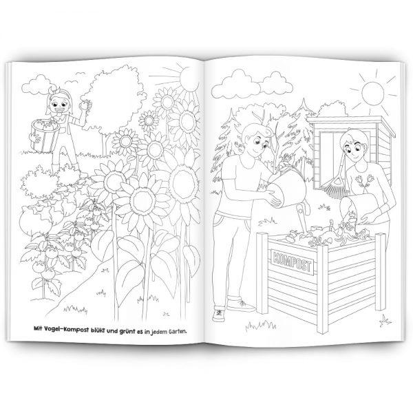 Innenseite selbst gestaltetes Malbuch gestalten lassen - Beispiel Komposti mit Gartenbildern