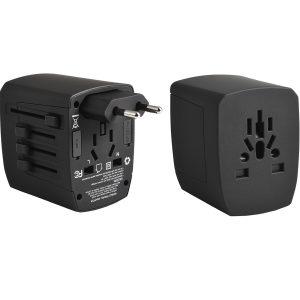 Weltreiseadapter World-Travel – passende herausschiebare Adapter für USA, UK, Europa und Australien / Neuseeland. 4 integrierte USB-Ports 5Vdc, max. 5.0 A