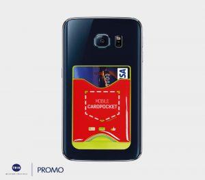 Handy- Card -Pocket aus Silikon zum Aufbewahren von Zahlungskarten und Geldscheinen, der mittels eines Stickers an der Rückseite Ihres Smartphones angebracht werden kann