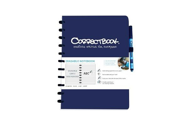 Correctbook A4; unendlich wieder verwendbares Notizbuch, ein tüchtiges Notizbuch mit Stift und Radierer