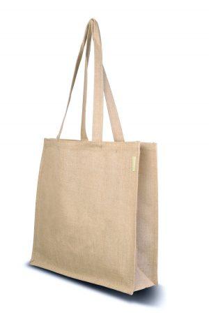 Juteschultertasche Basic, mit den langen Riemen kann diese Jutetasche bequem über der Schulter getragen werden