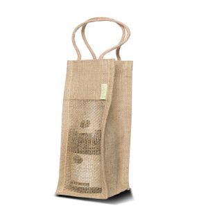 Weinflasche als Geschenk in einer Weintasche aus Jute sorgt für die richtige elegante Ausstrahlung.