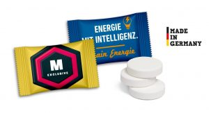 Pfefferminztabletten im Flowpack als Werbeartikel mit Logo im PRESIT Online-Shop bedrucken lassen