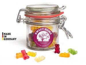 Nostalgie Glas mit Bügelverschluß als Werbeartikel mit Logo im PRESIT Online-Shop bedrucken lassen