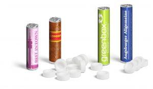 Pfefferminzrolle groß als Werbeartikel mit Logo im PRESIT Online-Shop bedrucken lassen