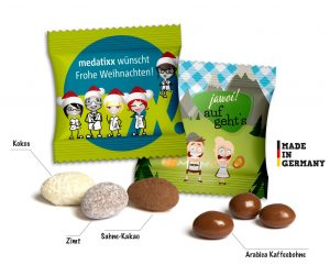Mandeln einzeln im Werbetütchen als Werbeartikel mit Logo im PRESIT Online-Shop bedrucken lassen
