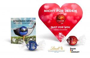 Lindt Lindor Kugel in Werbekartonage als Werbeartikel mit Logo im PRESIT Online-Shop bedrucken lassen