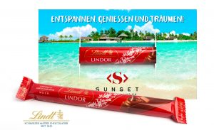 Lindt Lindor Stick in Werbekarte als Werbeartikel mit Logo im PRESIT Online-Shop bedrucken lassen