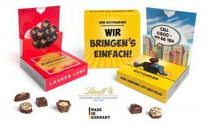 Lindt Mini Pralinés in Pop-Up Kartonage als Werbeartikel mit Logo im PRESIT Online-Shop bedrucken lassen