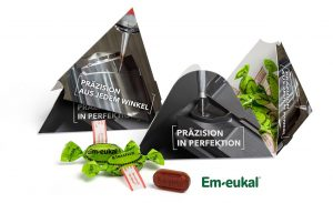 Pyramidenbox als Werbeartikel mit Logo im PRESIT Online-Shop bedrucken lassen
