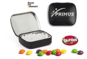 Mini Nostalgiedose mit Lasergravur als Werbeartikel mit Logo im PRESIT Online-Shop bedrucken lassen