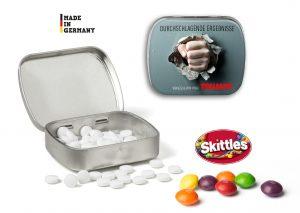 Mini Nostalgiedose mit Tampondruck als Werbeartikel mit Logo im PRESIT Online-Shop bedrucken lassen