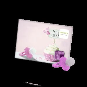 Brixies Postkarte baby girl mit logo bedrucken lassen