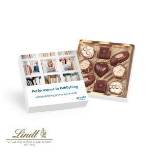 Kleine Kostbarkeiten von Lindt als Werbeartikel mit Logo im PRESIT Online-Shop bedrucken lassen