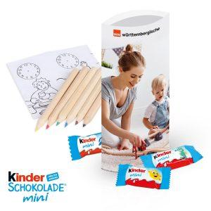 Kinder-Schokolade Mini mit Malset als Werbeartikel mit Logo im PRESIT Online-Shop bedrucken lassen