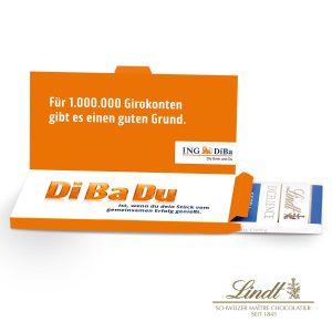 Grußkarte mit Schokoladentafel von Lindt Excellence als Werbeartikel mit Logo im PRESIT Online-Shop bedrucken lassen