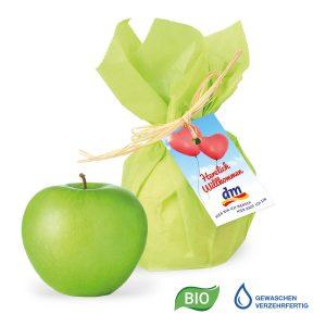 Premium Werbe-Apfel mit Werbekärtchen als Werbeartikel mit Logo im PRESIT Online-Shop bedrucken lassen