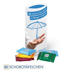 Kissenverpackung mit süßer Füllung Ritter Sport als Werbeartikel mit Logo im PRESIT Online-Shop bedrucken lassen