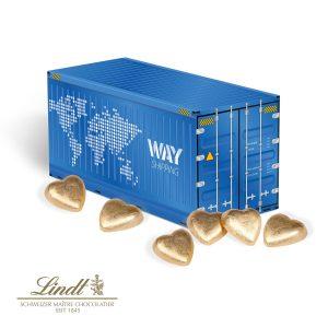 3D Präsent Container Lindt als Werbeartikel mit Logo im PRESIT Online-Shop bedrucken lassen