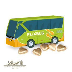 3D Präsent Bus Lindt als Werbeartikel mit Logo im PRESIT Online-Shop bedrucken lassen