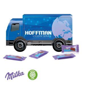 3D Präsent LKW Milka als Werbeartikel mit Logo im PRESIT Online-Shop bedrucken lassen