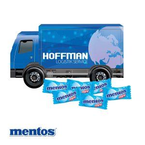 3D Präsent LKW Mentos als Werbeartikel mit Logo im PRESIT Online-Shop bedrucken lassen